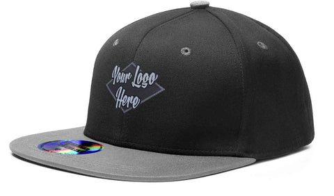 Woven Patch Cap Black/Charcoal Premium American Twill with Snap Back Pro Styling - Two Tone