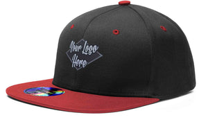 Woven Patch Cap Black/Red Premium American Twill with Snap Back Pro Styling - Two Tone