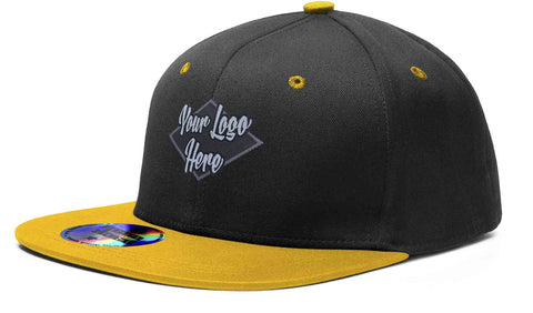 Woven Patch Cap Black/Gold Premium American Twill with Snap Back Pro Styling - Two Tone