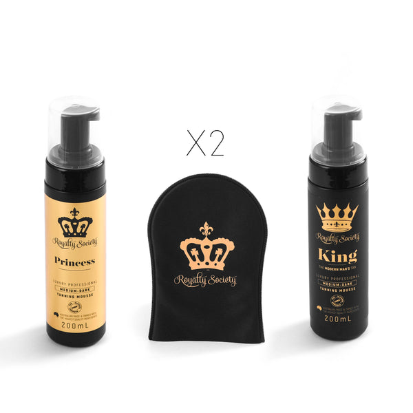 Royalty Society Insta ready Couples Package KING~PRINCESS~MITTS - Royalty Society  - Tan, Spray Tan, Sunless Tan Royalty Society - Melbourne, Australia Royalty Society - Royalty Tanning