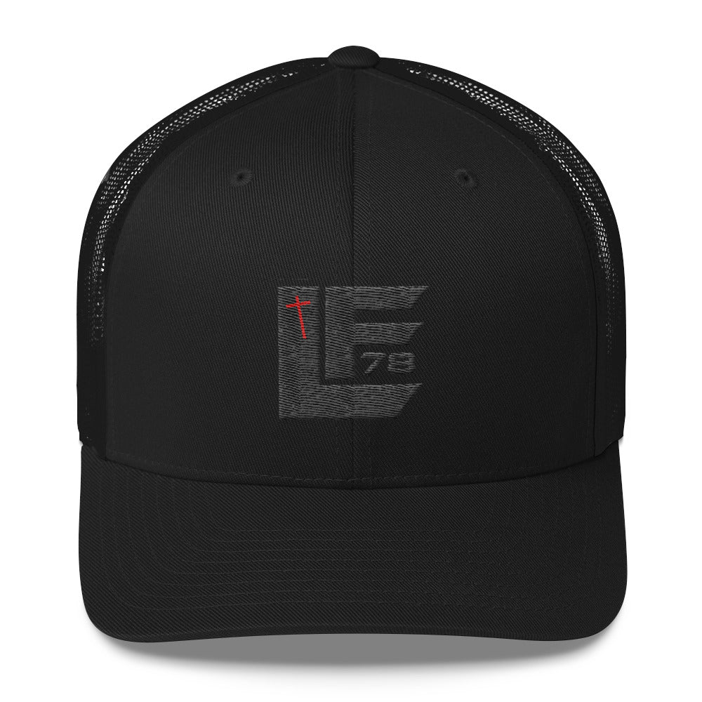 Black on Black Trucker cap w/white Cross