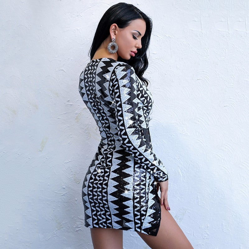 Yissang 2018 Sexy V Neck Long Sleeve Short Dresses Side Split Party Night  Club Mini Sequin 8a5fe97fa1f5