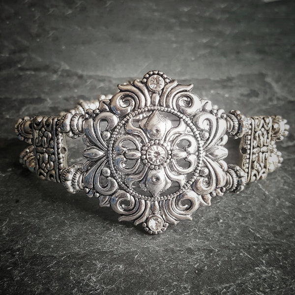 Silver Shield Bracelet Rhinestone Bridal Jewelry