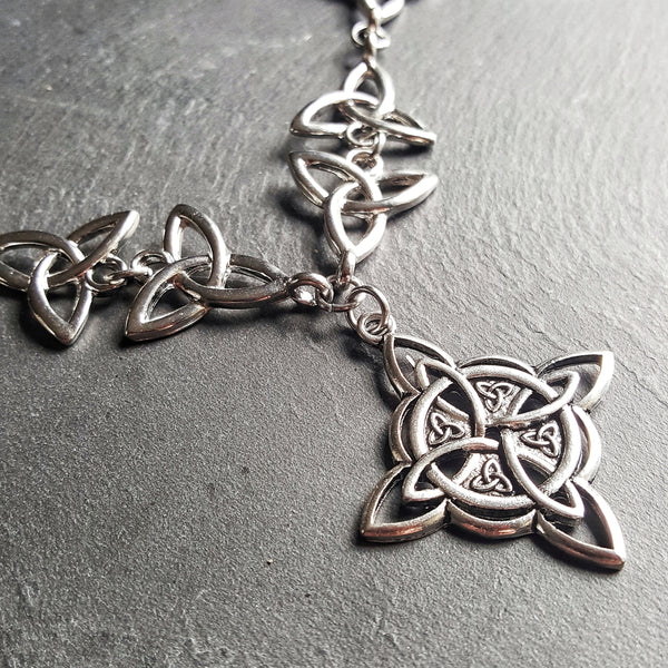 Silver Celtic Knot Necklace Triqueta Wiccan Jewelry - DRAVYNMOOR
