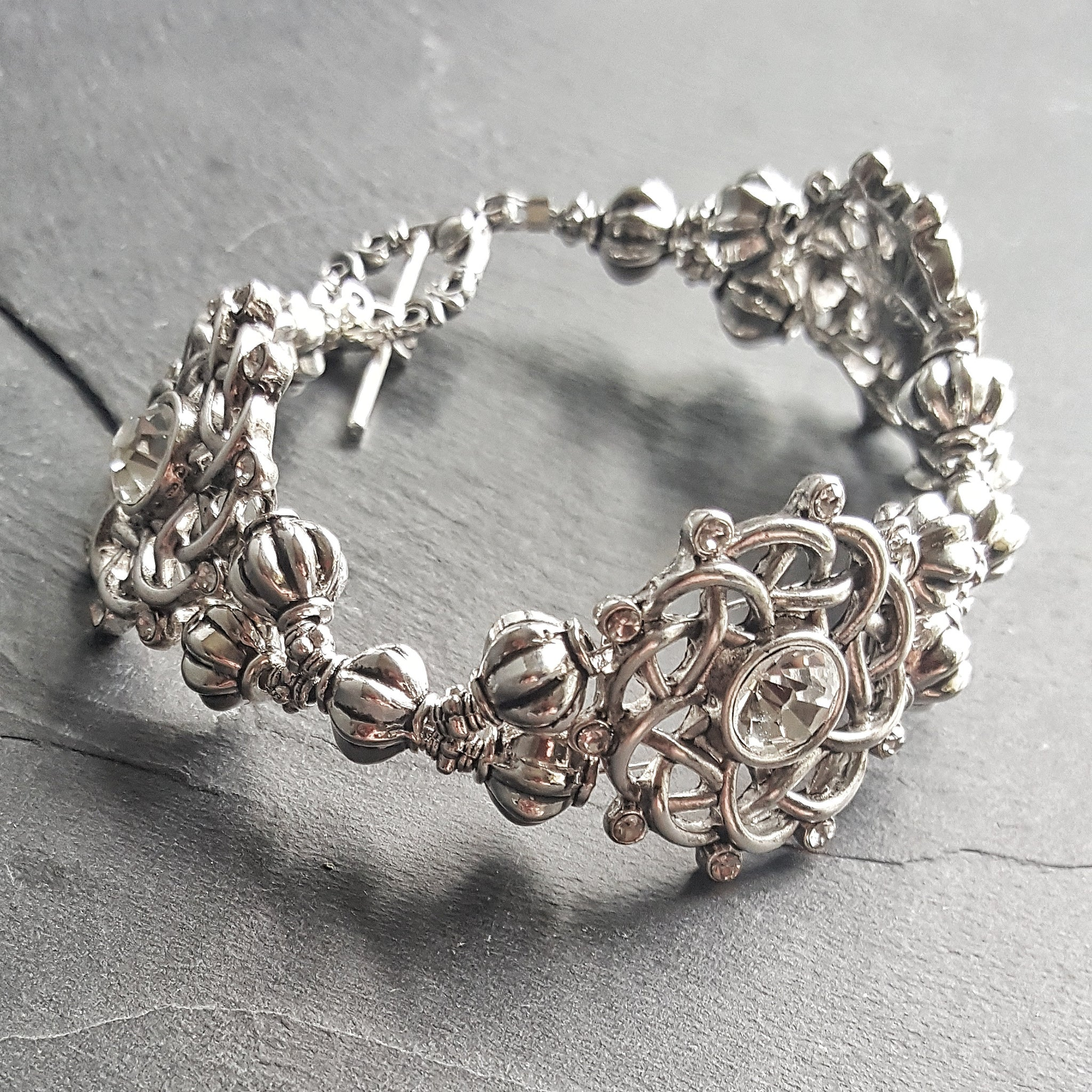Silver Celtic Knot Cocktail Bracelet Fantasy Jewelry - DRAVYNMOOR