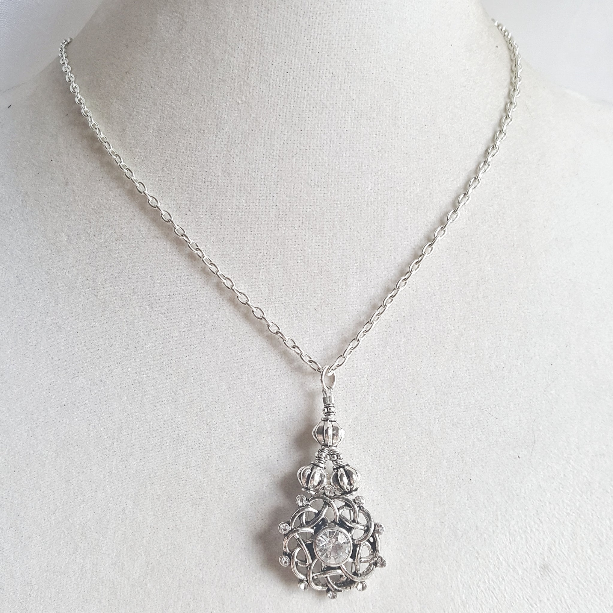 Silver Celtic Teardrop Pendant Necklace Rhinestone Bridal Fantasy Jewelry - DRAVYNMOOR