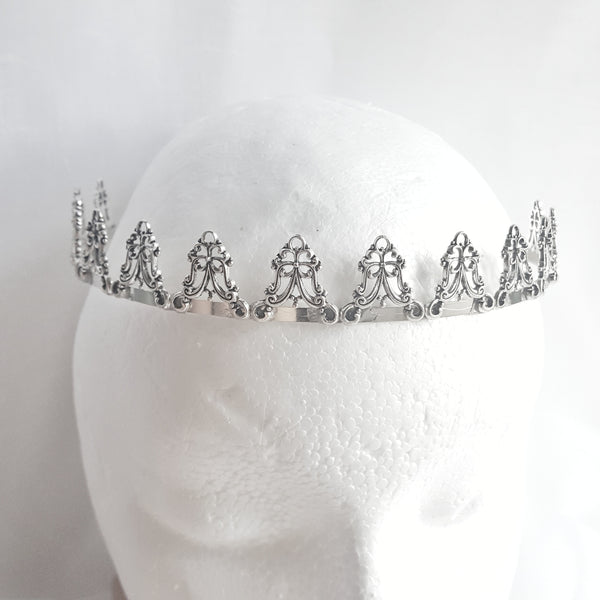 Silver Renaissance Crown Princess Costume Fantasy Bridal Accessories - DRAVYNMOOR