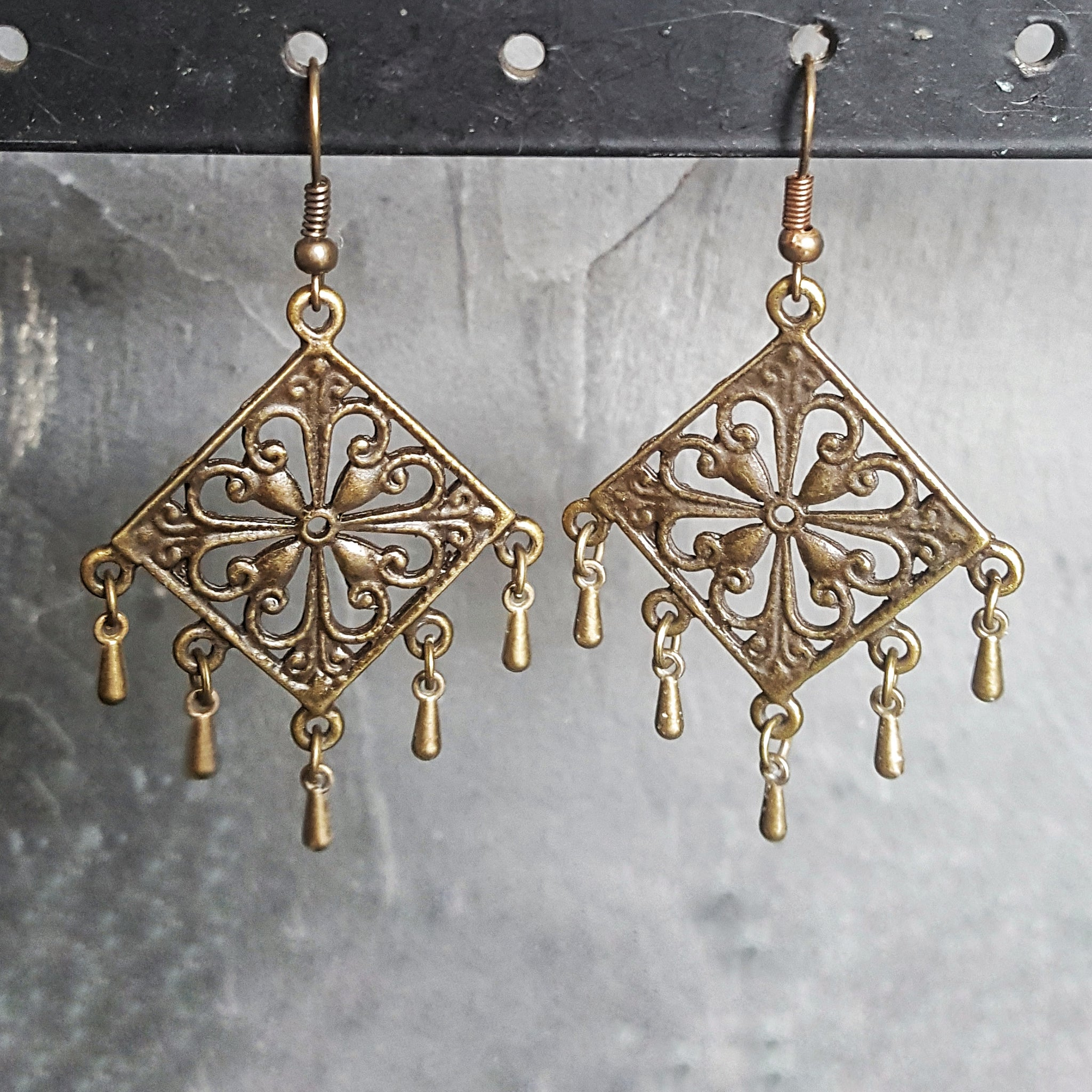 Square Bronze Chandelier Earrings Bohemian Jewelry - DRAVYNMOOR