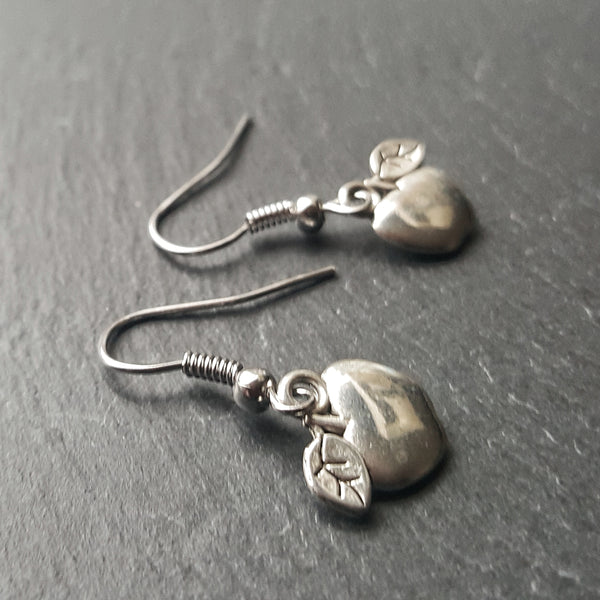 Silver Apple Earrings Teacher Gift - DRAVYNMOOR