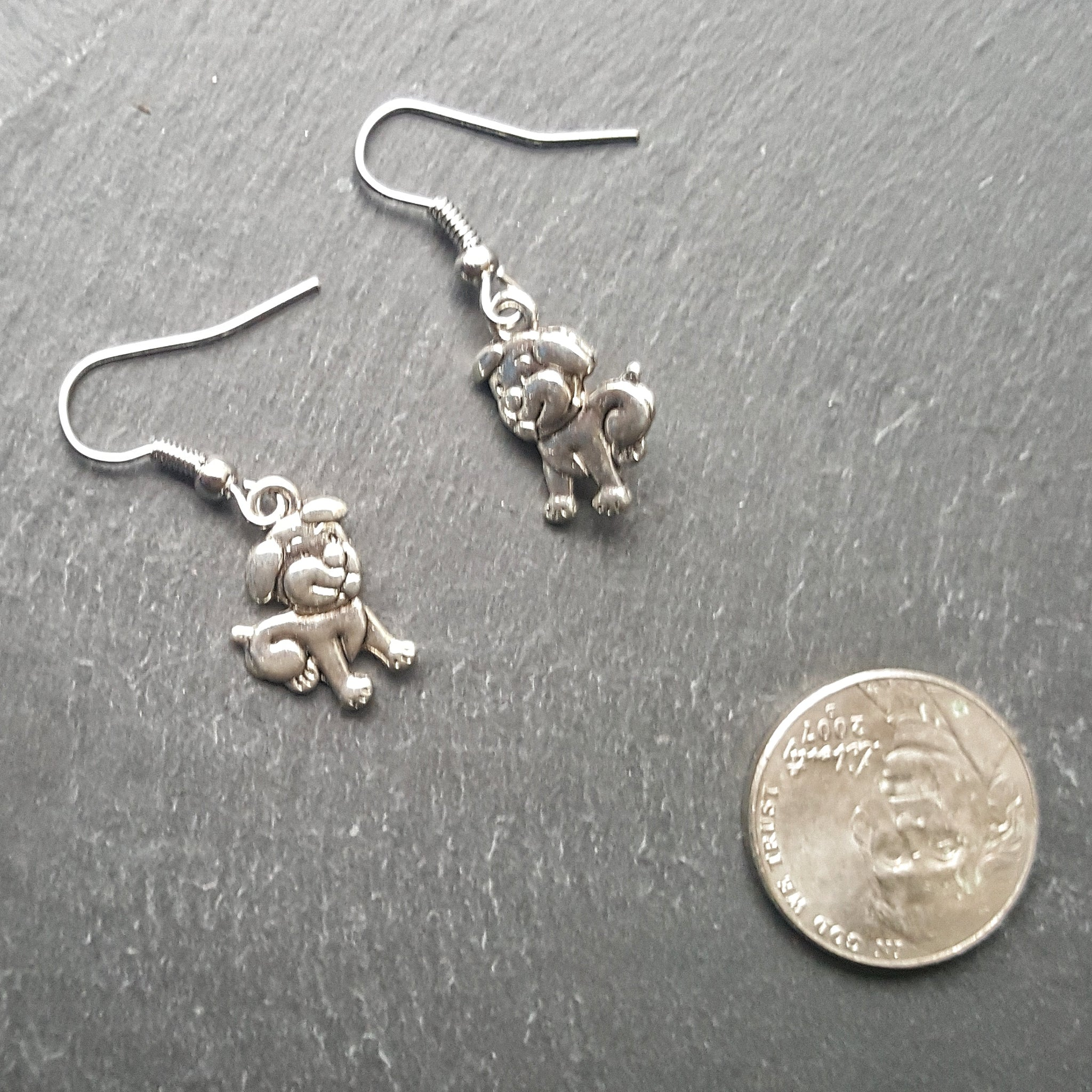 Silver Puppy Dog Earrings Dog Lover Gift - Handmade Jewelry - Ren Faire - DRAVYNMOOR