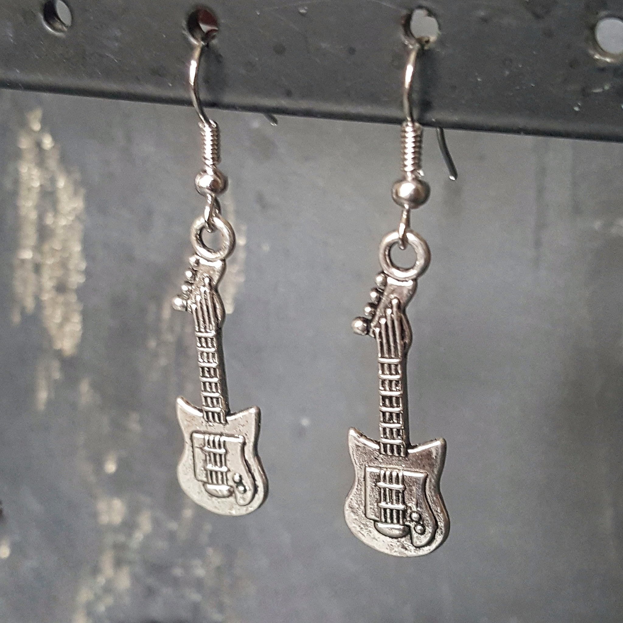 Silver Guitar Earrings Gift Idea for Guitarist - DRAVYNMOOR