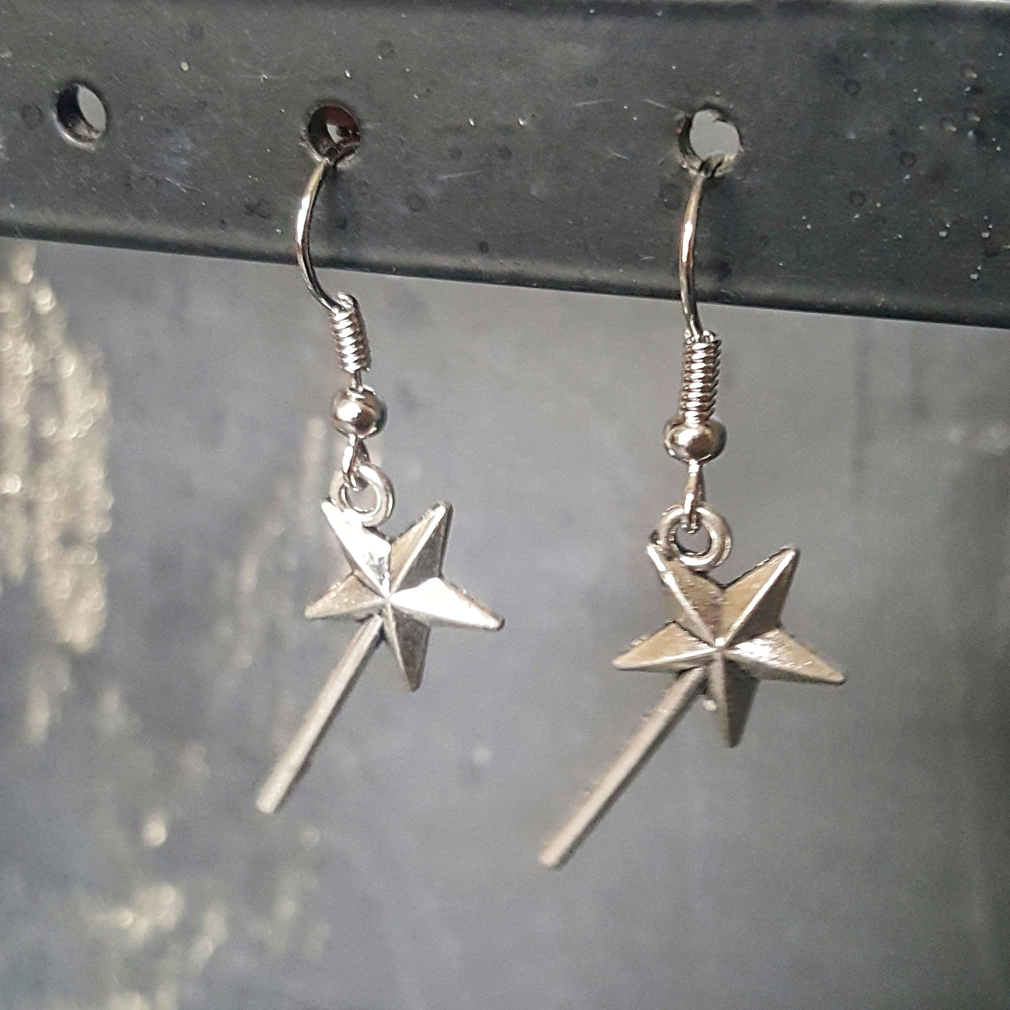 Magic Wand Silver Earrings Gifts for Dreamers - DRAVYNMOOR