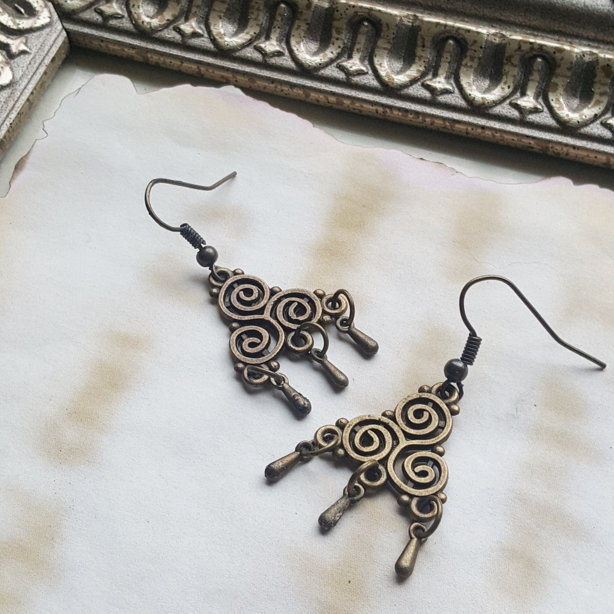 Bronze Chandelier Earrings - Ren Faire - Bohemian Earrings - Christmas Gift Idea - Handmade Jewelry - Ren Faire - DRAVYNMOOR