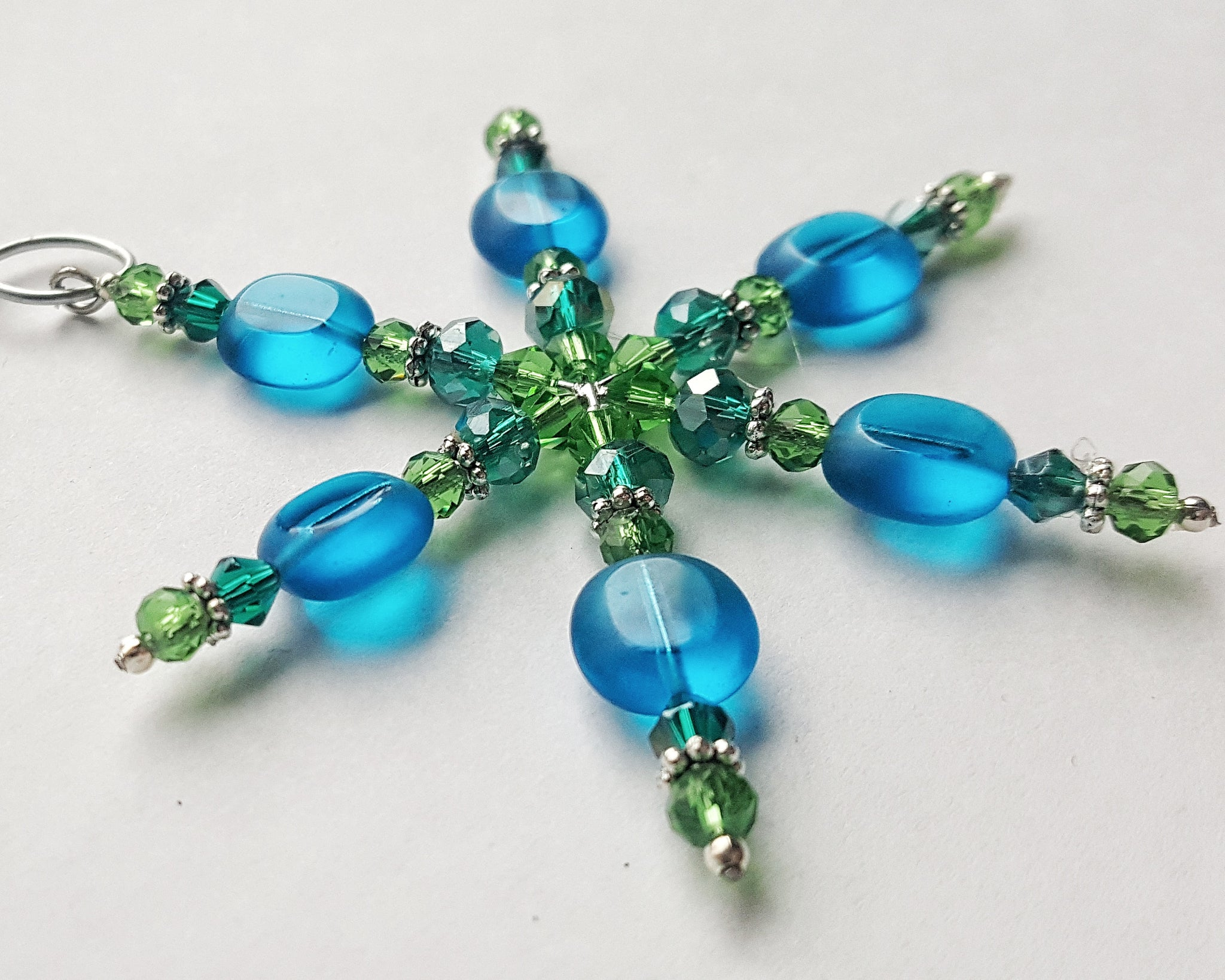 Blue and Green Snowflake Christmas Ornament Handmade Gift