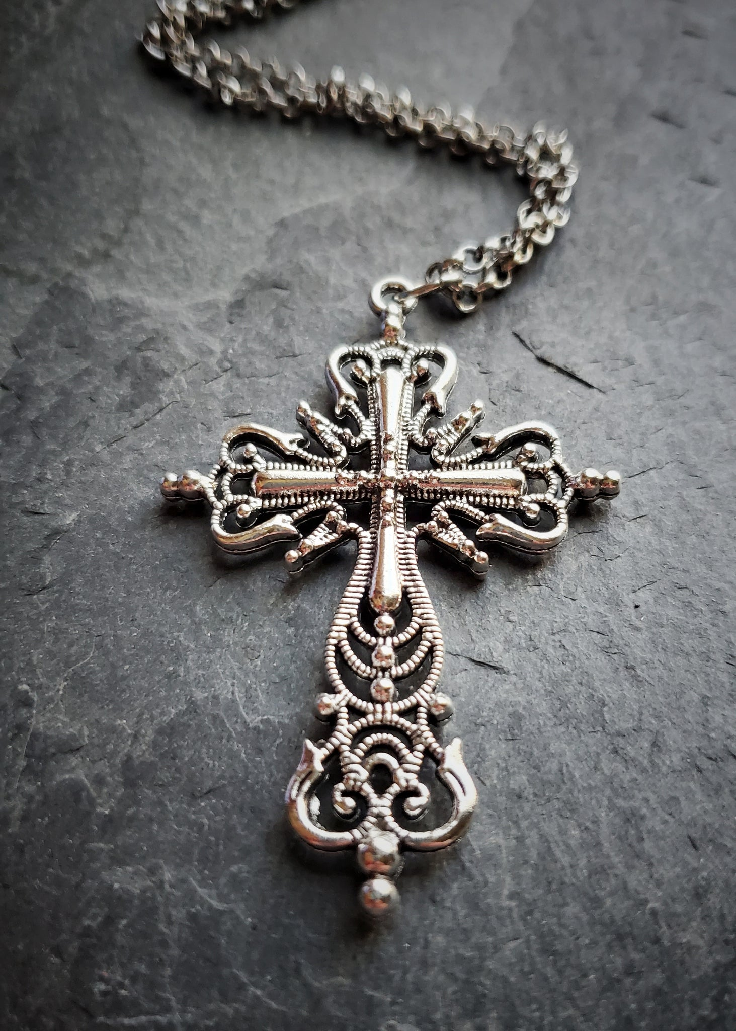 Silver Gothic Cross Necklace Fantasy Jewelry