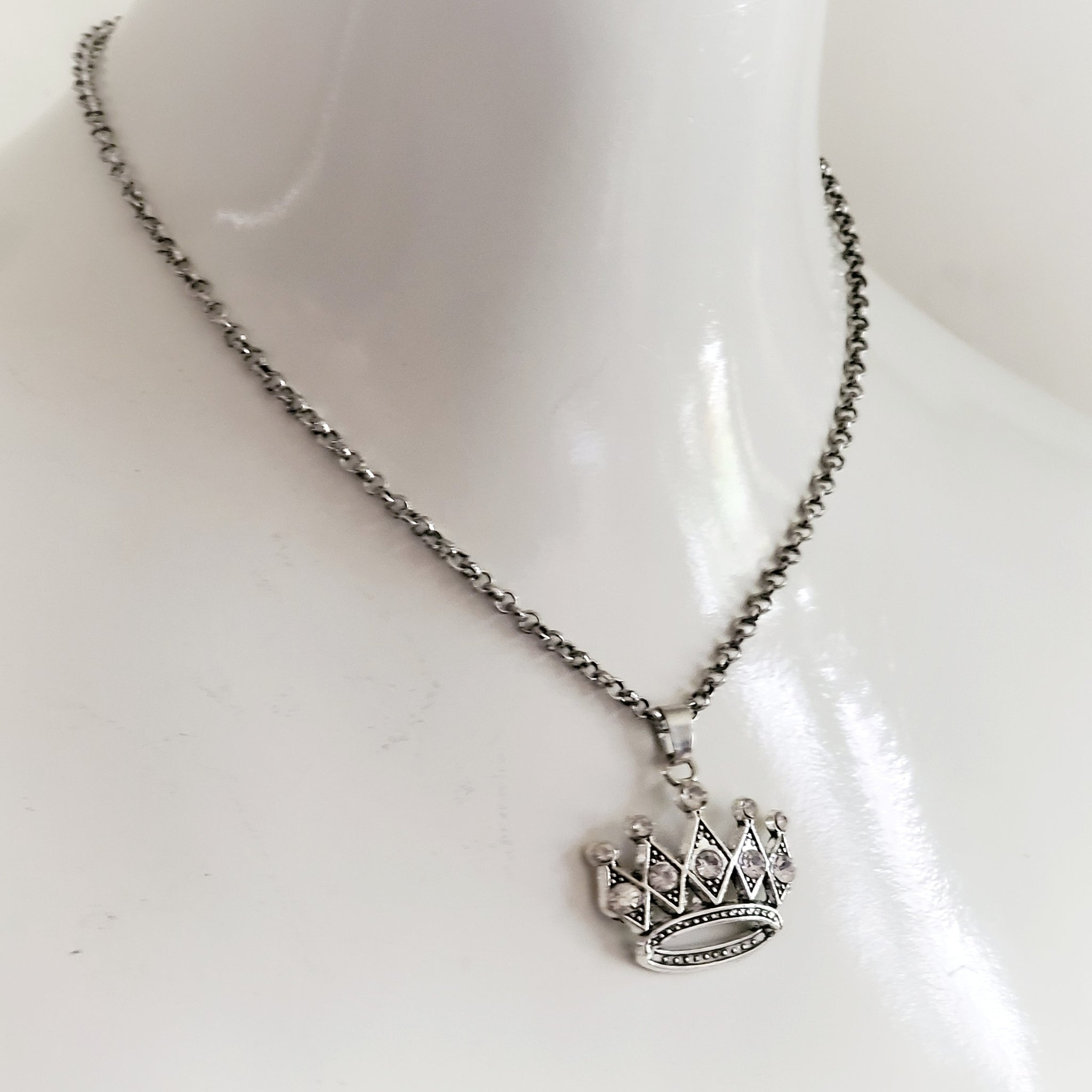 Rhinestone Crown Princess Necklace Handmade Jewelry