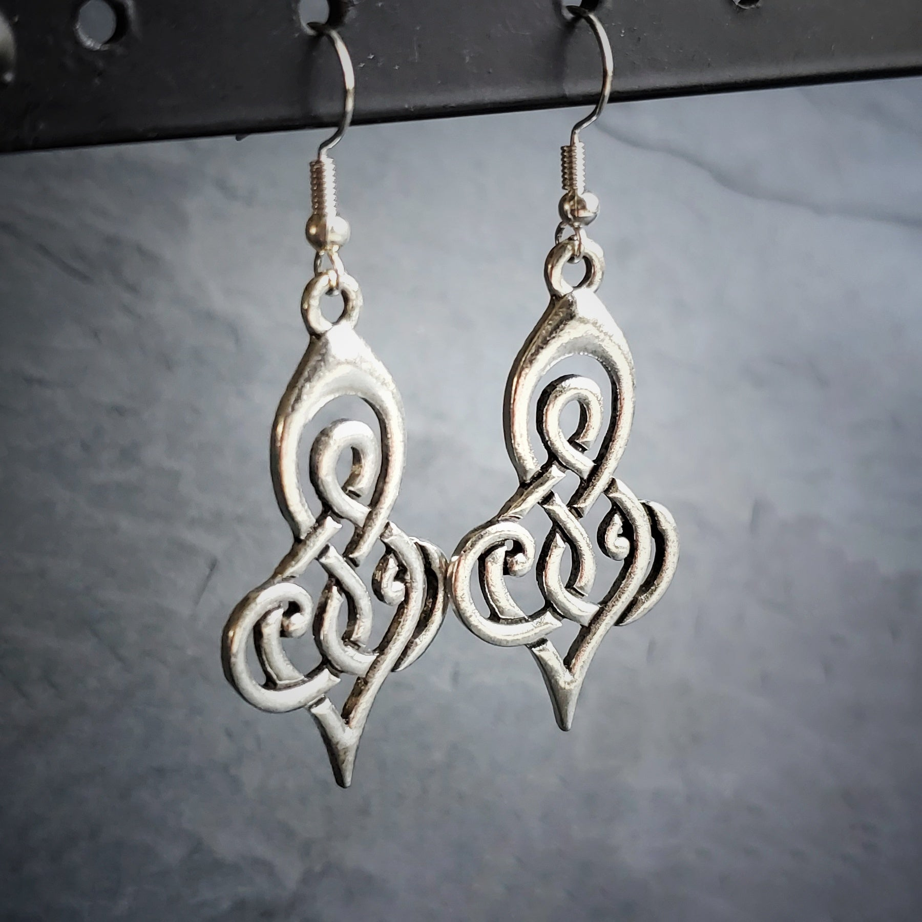 Celtic Silver Goddess Earrings Wiccan Jewelry