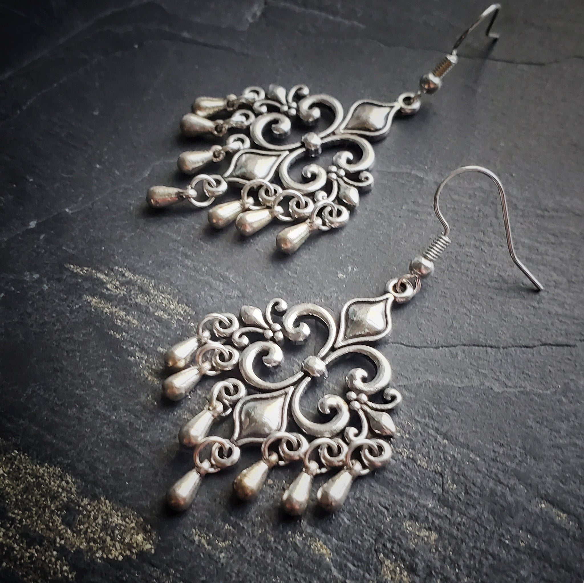 Fleur-de-lis Chandelier Earrings Renaissance Jewelry