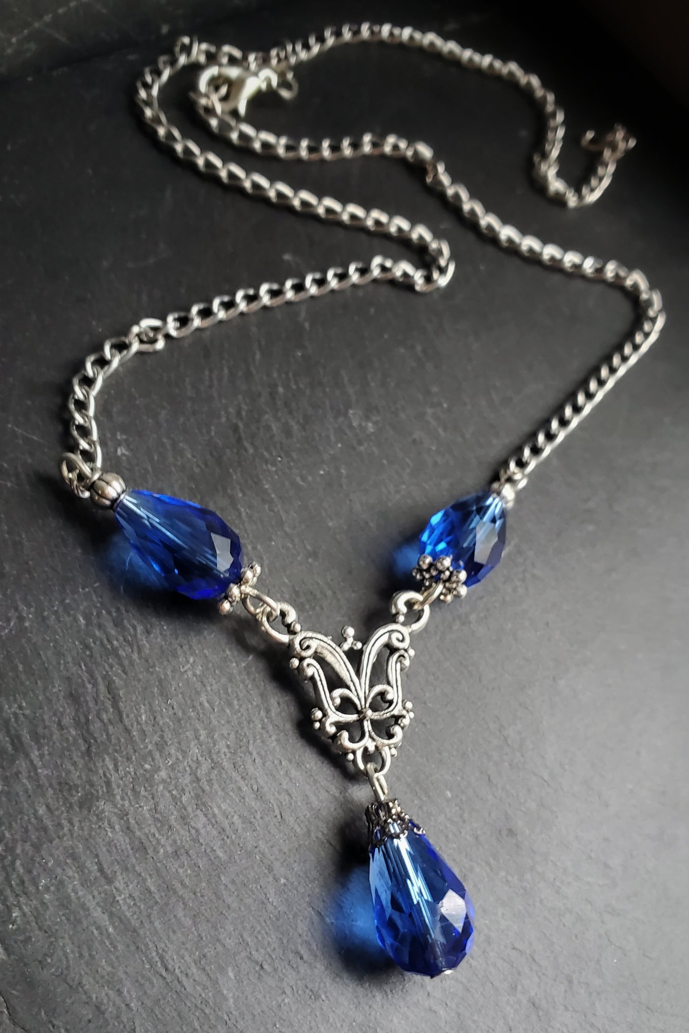 Blue Gothic Teardrop Necklace Handmade Jewelry Gift