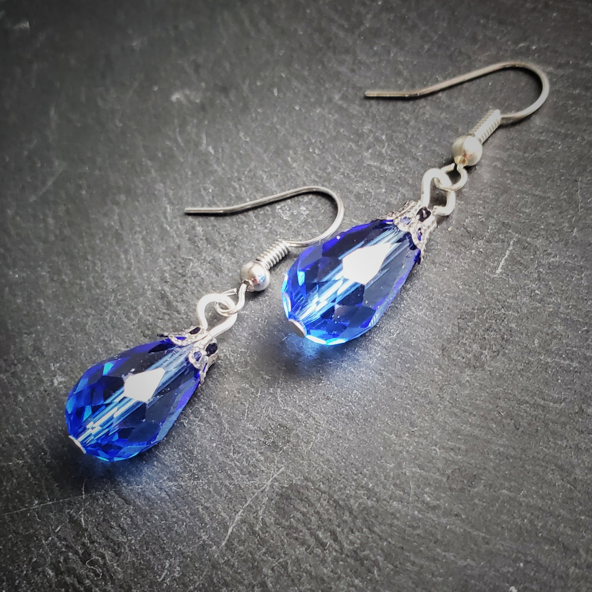 Blue Crystal Teardrop Earrings Handmade Jewelry