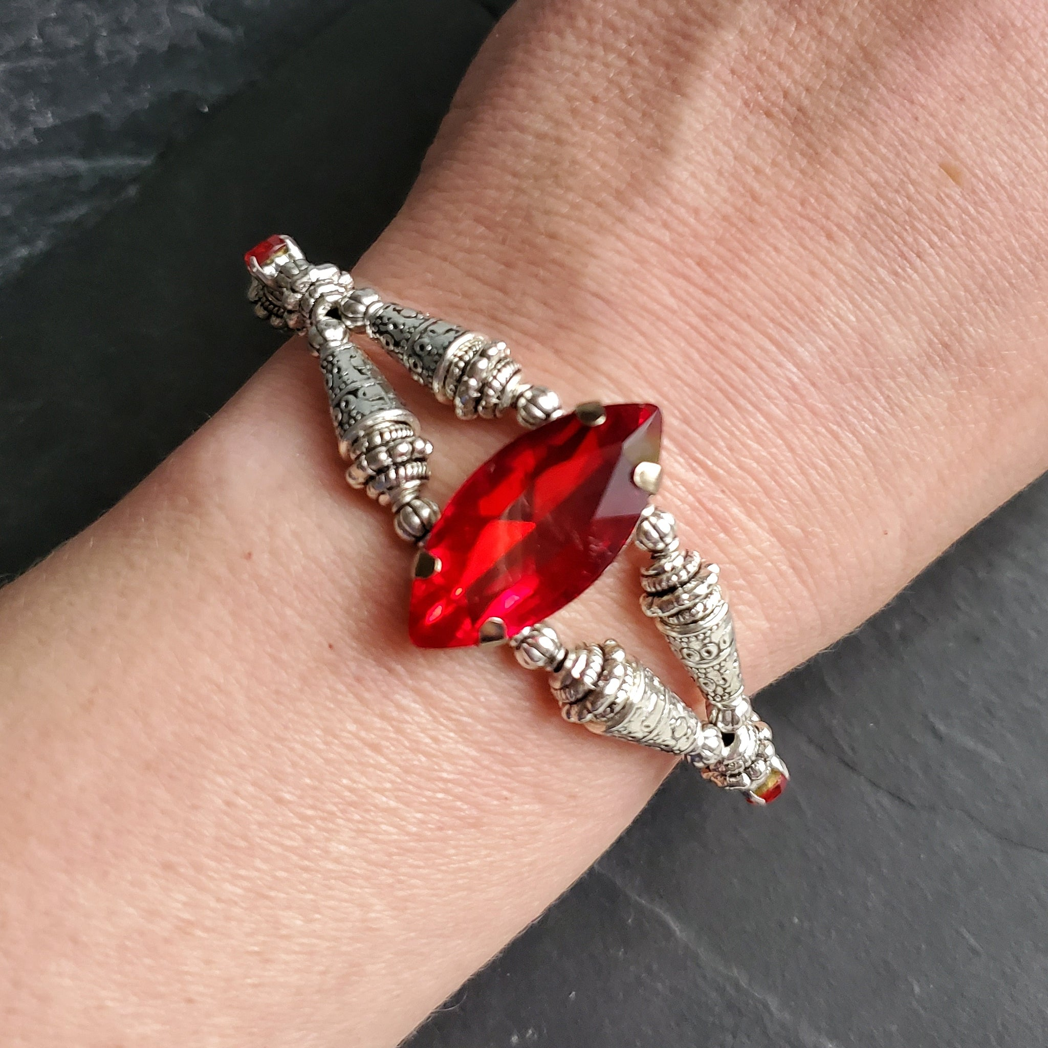 Red Rhinestone Bracelet Ren Faire Fantasy Jewelry