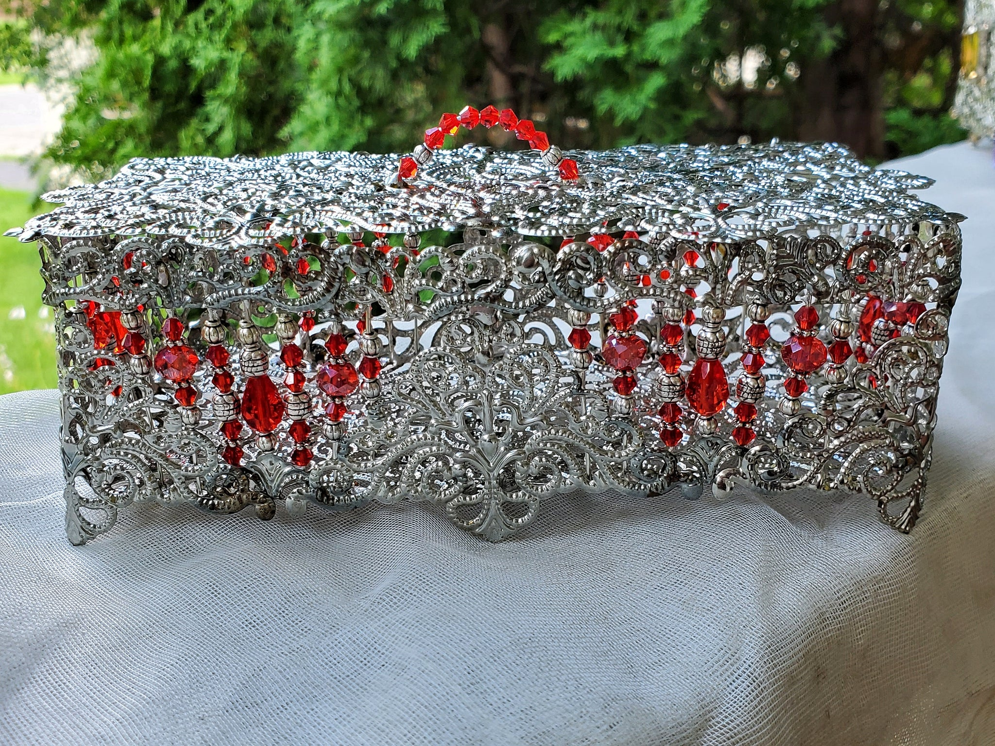 Large Hinged Silver Filigree Victorian Trinket Box with Abacus Crystals
