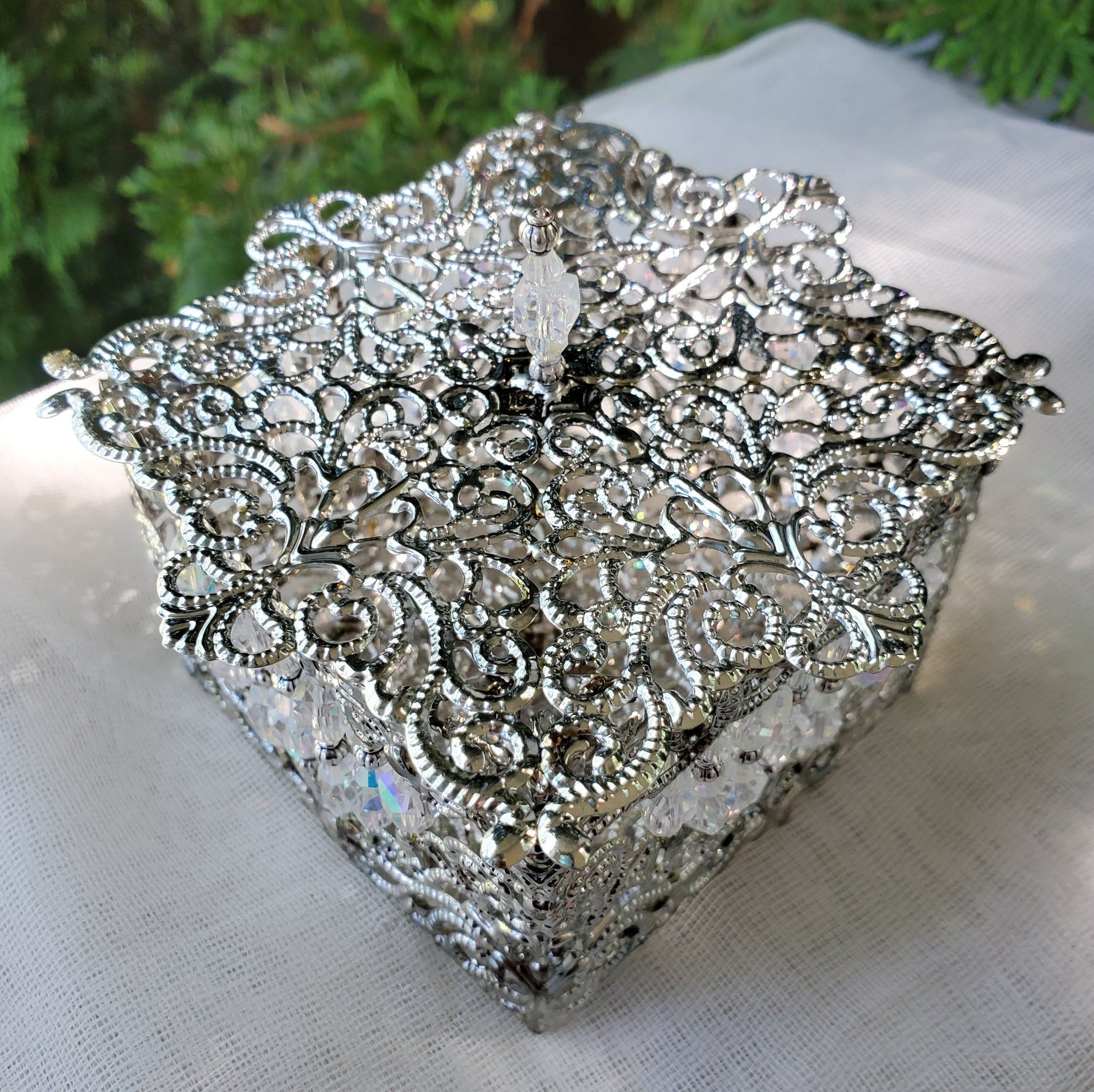 Silver Filigree Victorian Trinket Box with Abacus Crystals