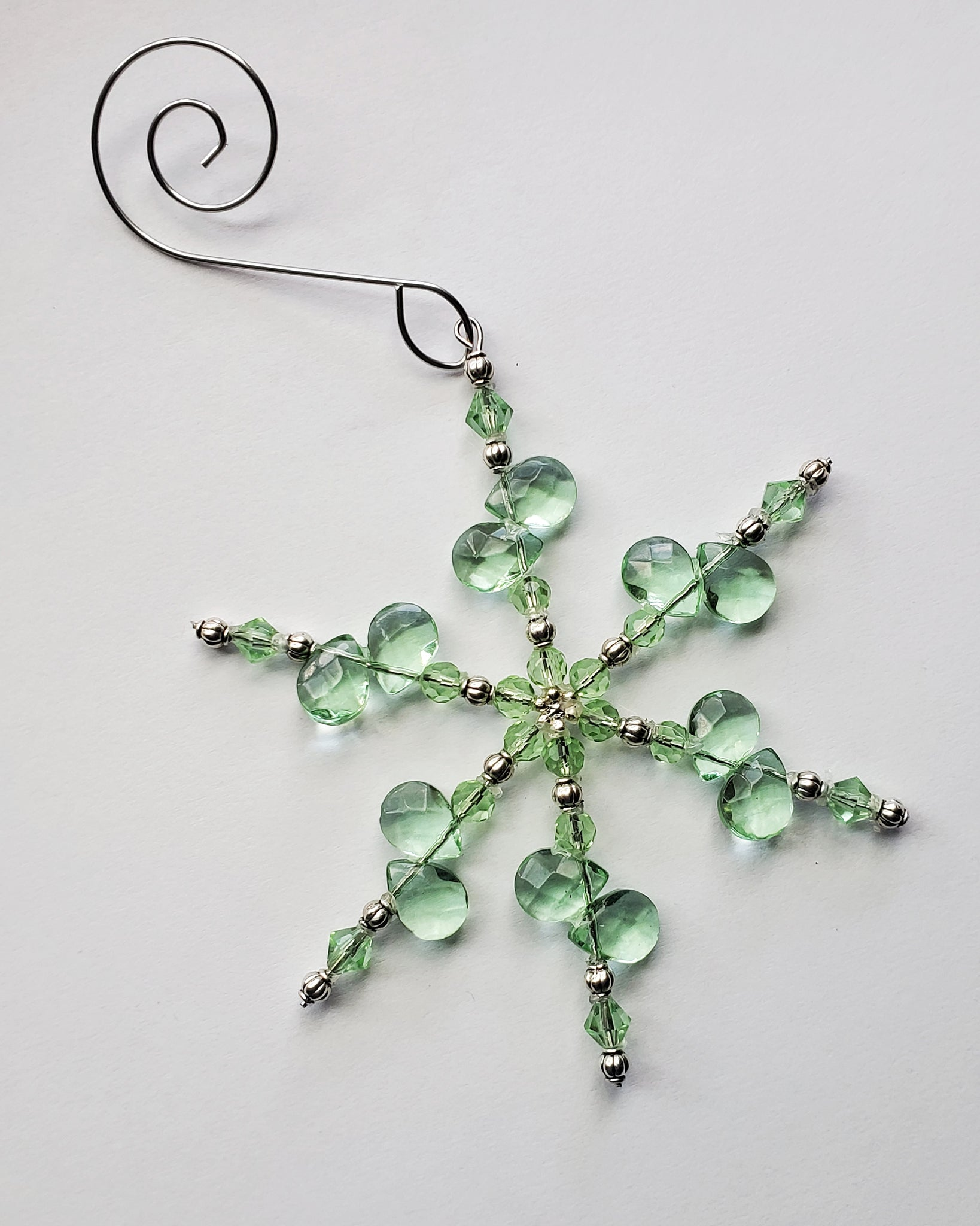Pale Green Crystal Snowflake Christmas Ornament