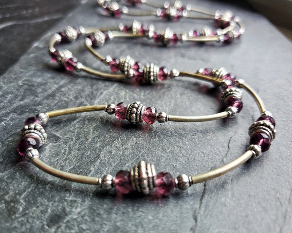 CLEARANCE Long Burgundy Wine Crystal Necklace
