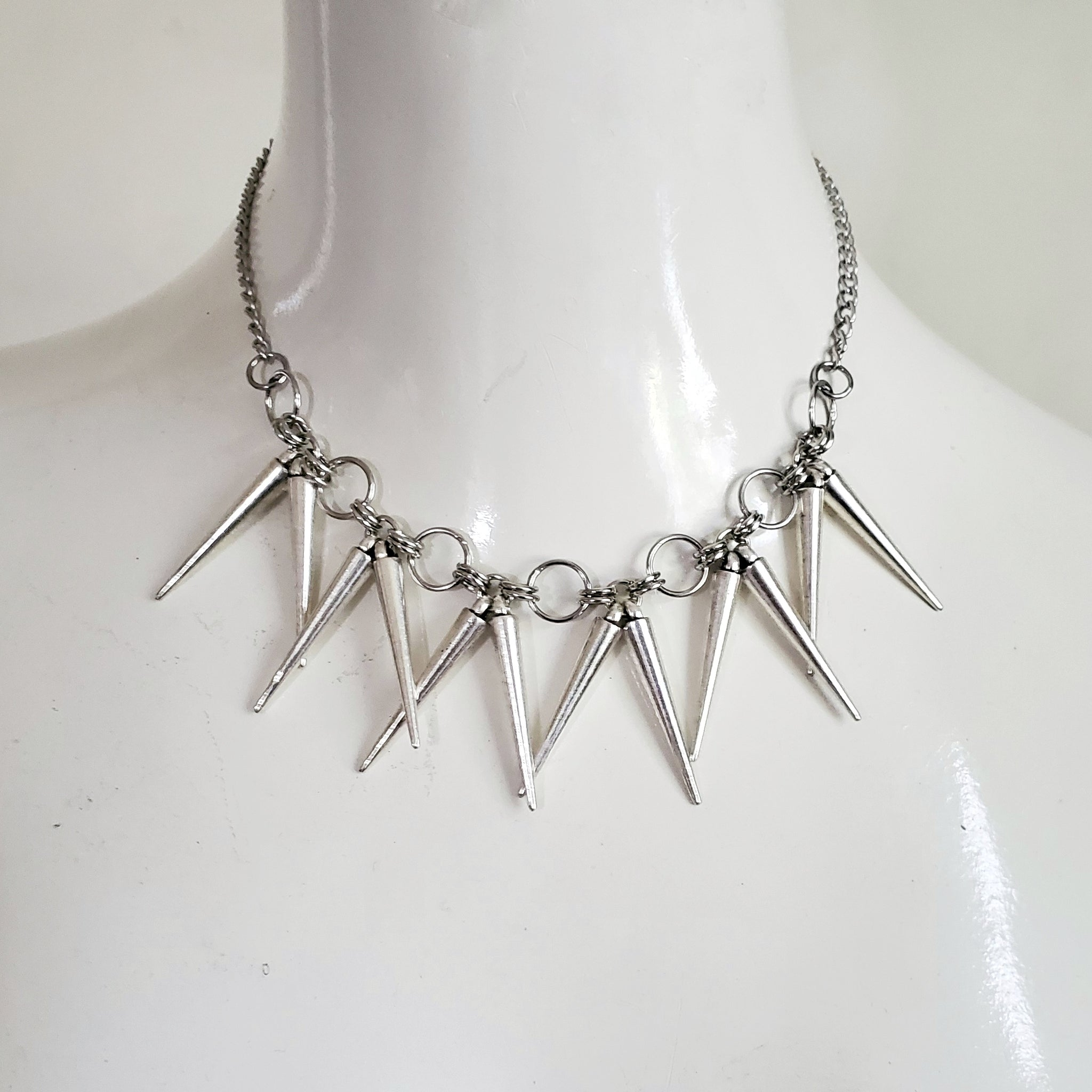 Silver Spike Thorn Barbed Wire Necklace Punk Jewelry