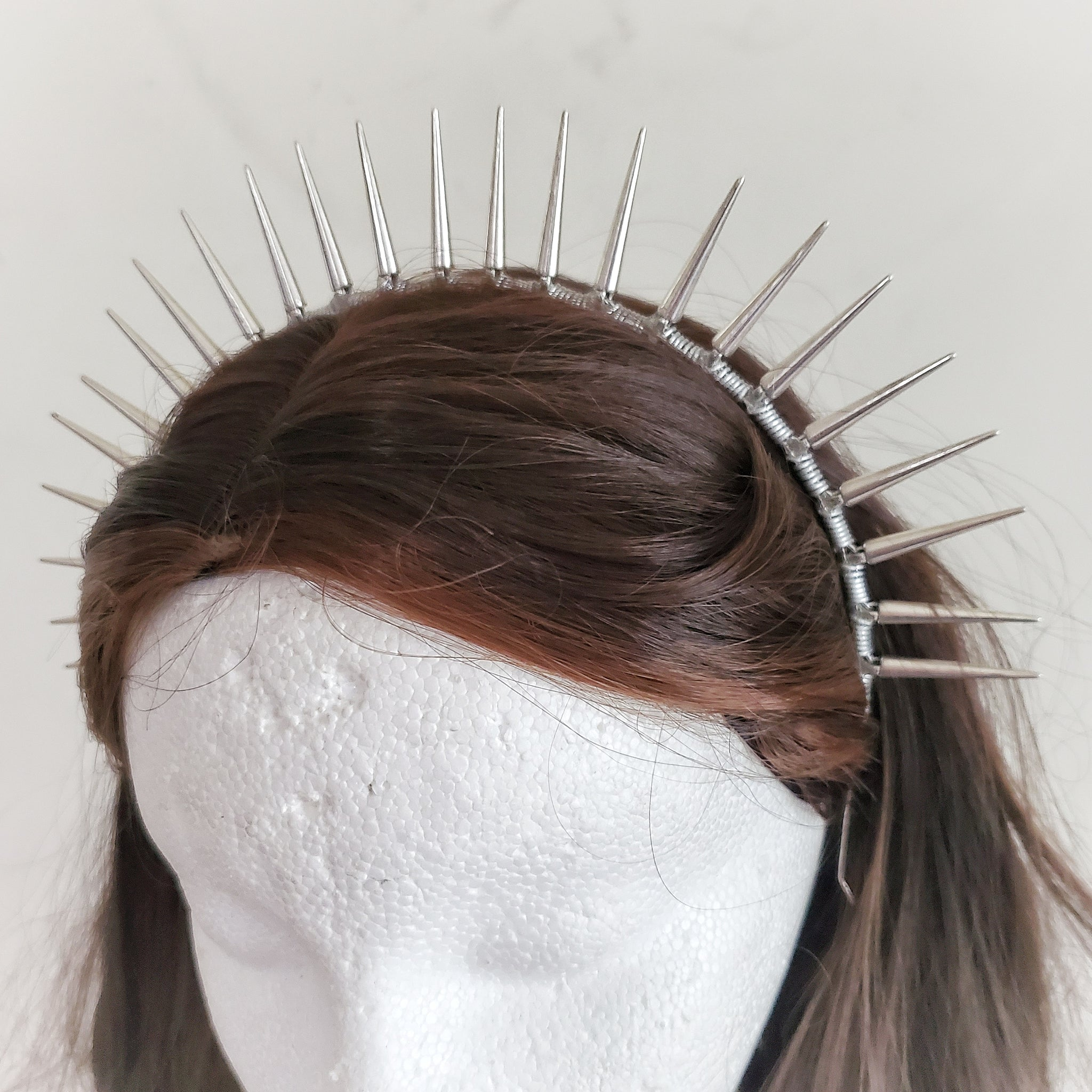 Silver Spike Halo Crown Headband