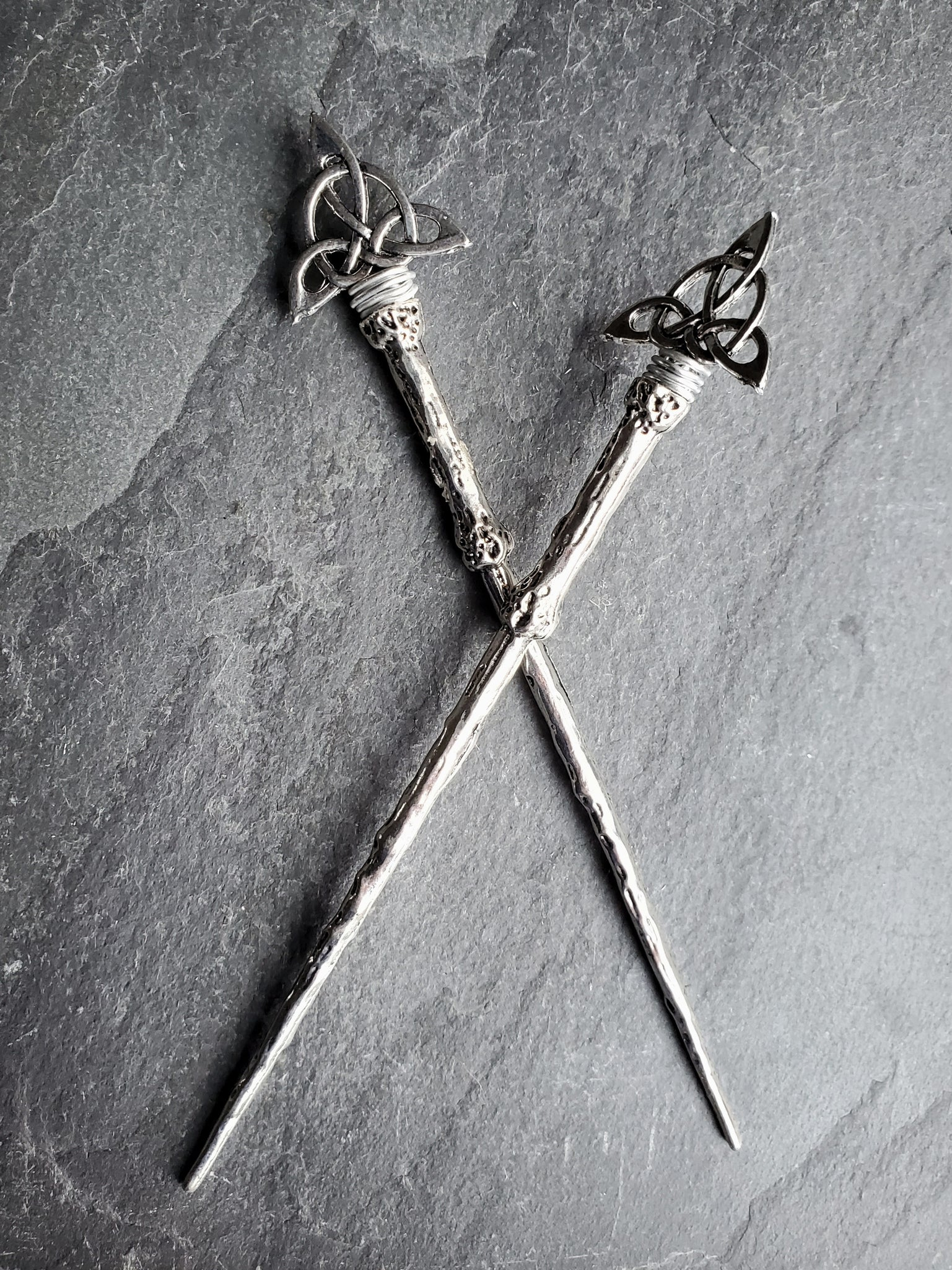 Silver Triquetra Hair Sticks Hair Jewelry for Witches