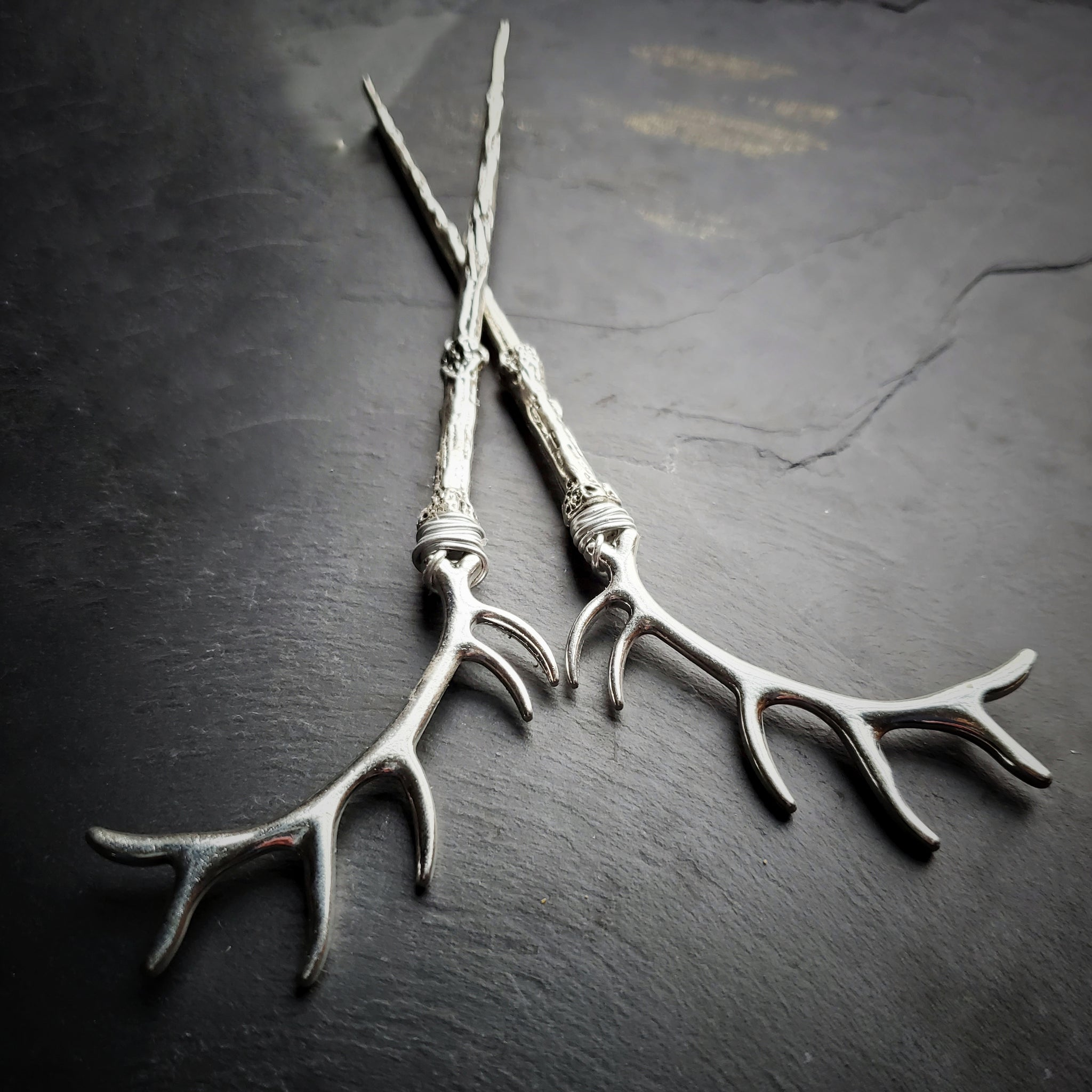 Silver Antler Horn Hair Sticks Hair Jewelry