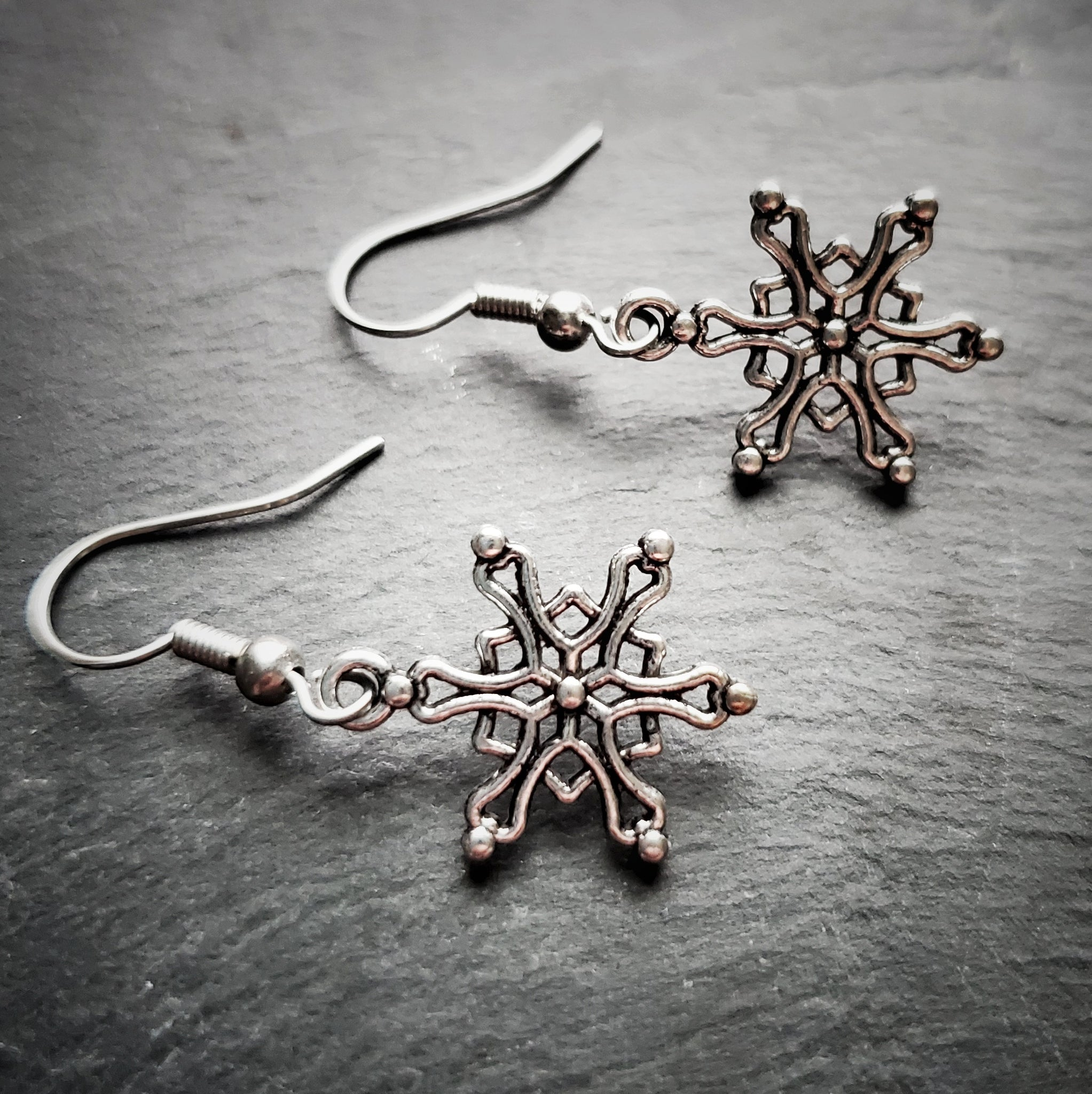 Silver Snowflake Earrings Winter Jewelry Christmas Gift Idea