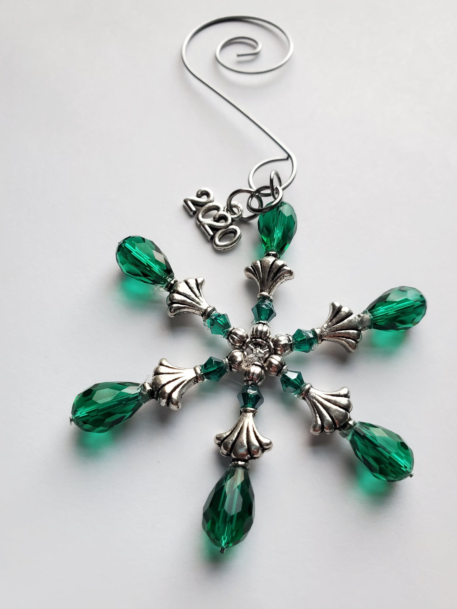 Emerald Green Crystal Snowflake Ornament Handmade Gift Stocking Stuffer