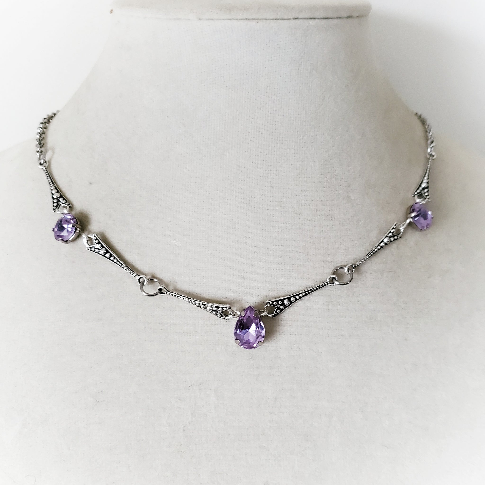 Art Deco Rhinestone Necklace in Purple, Red, or Green