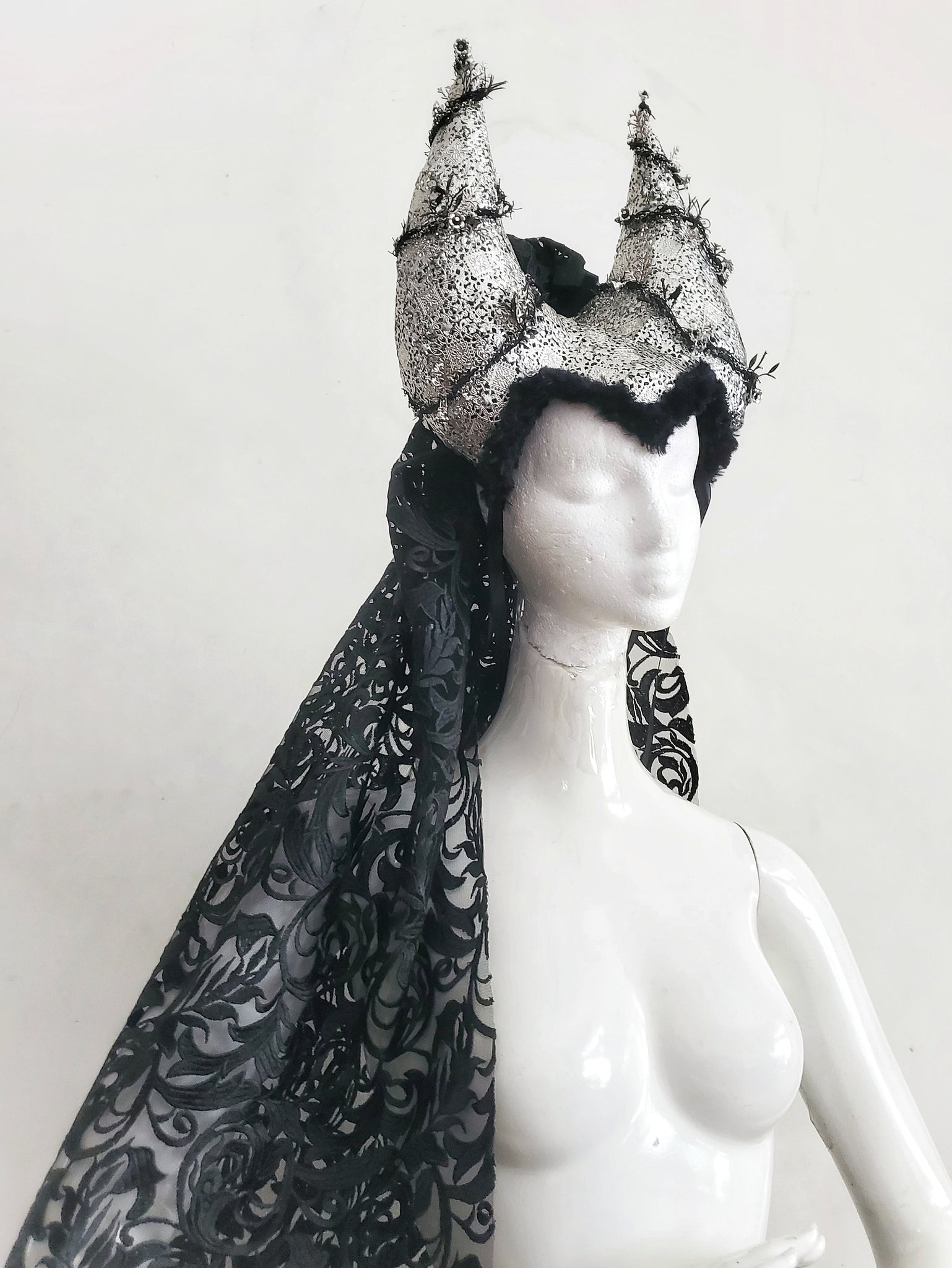 Tribal Goth Horned Headress with Embroidered Veil
