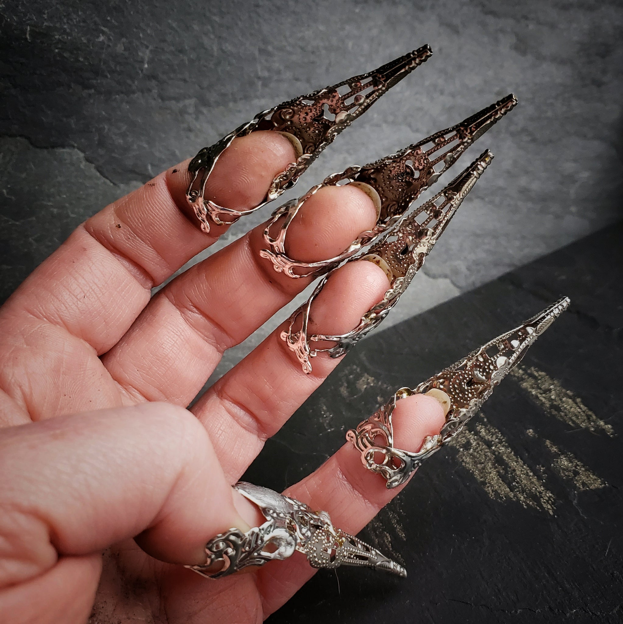 Silver Filigree Nail Armor Claws, Set of 5 or 10