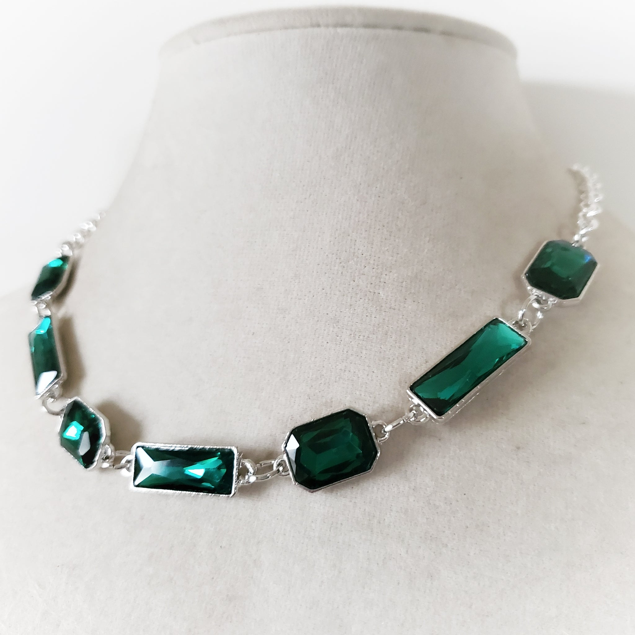 Emerald Cut Rhinestone Necklace in Green or Blue