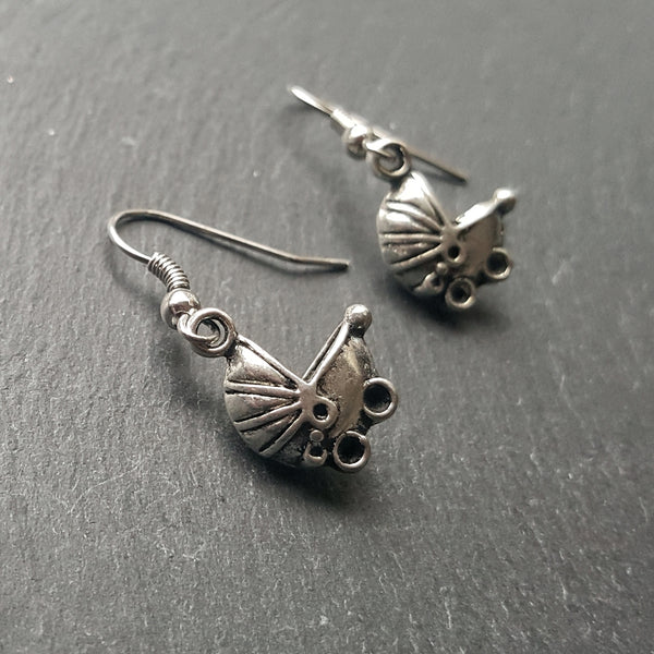 Silver Baby Buggy Earrings Gift for Expectant Moms - Handmade Jewelry - Ren Faire - DRAVYNMOOR