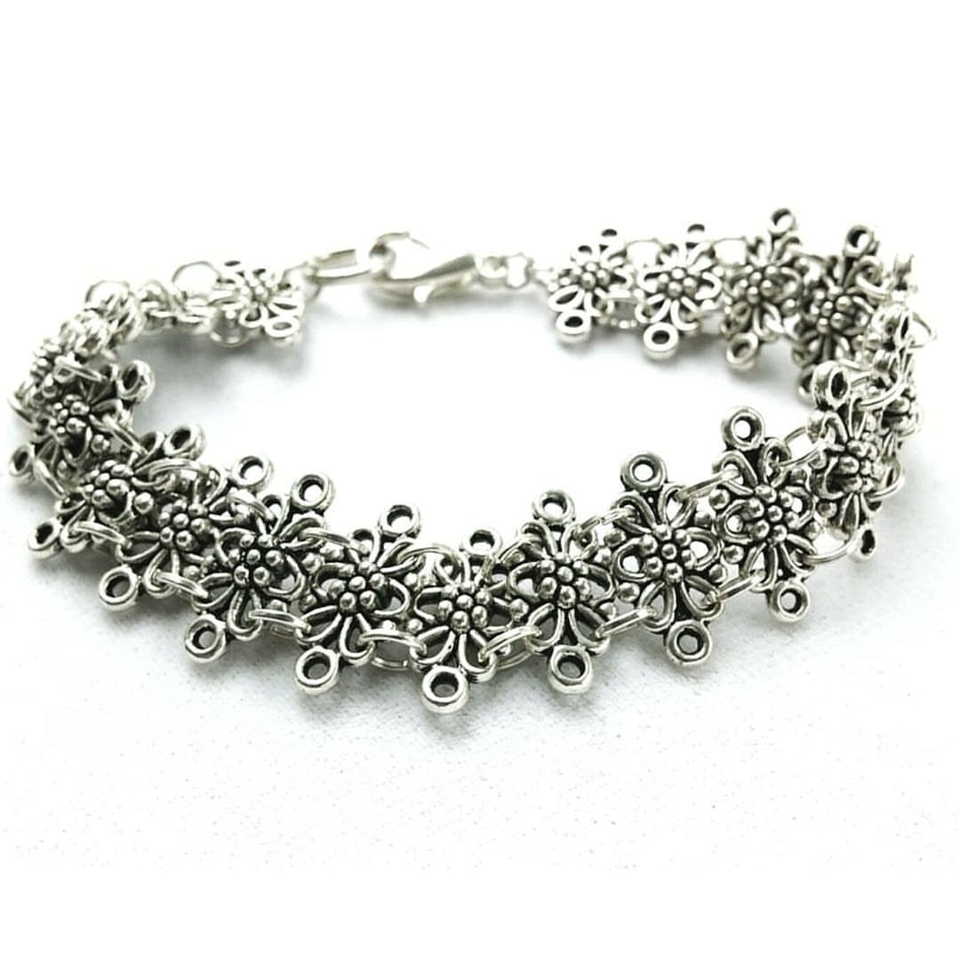 Silver Medieval Statement Bracelet Ren Faire Jewelry Gift