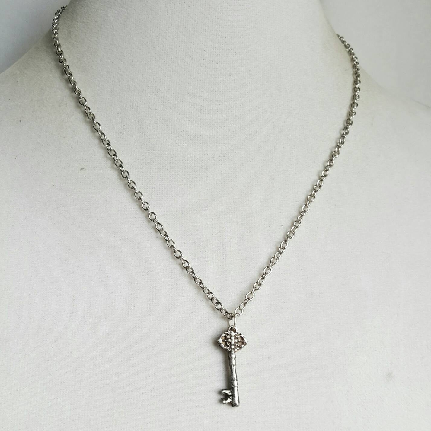 Mini Skeleton Key Necklace 925 Sterling Silver Jewelry - DRAVYNMOOR