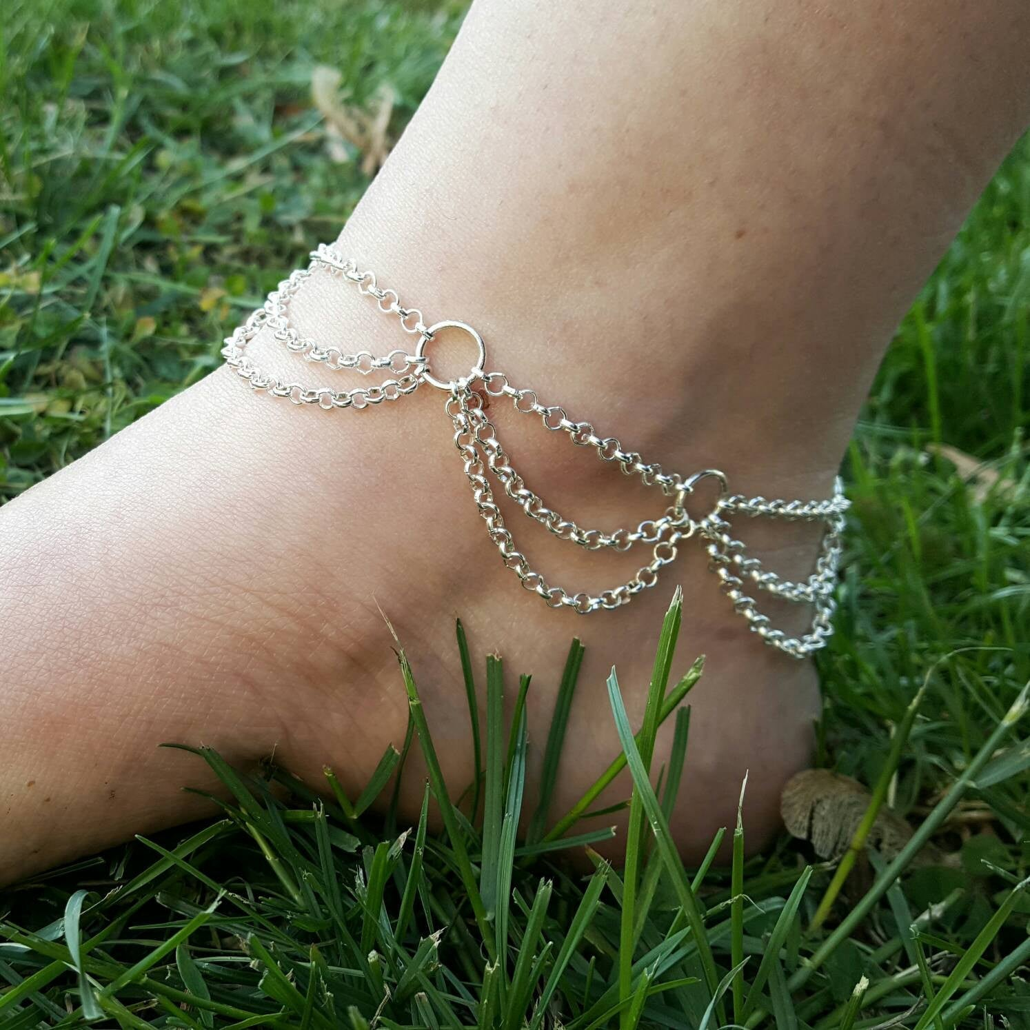 Draped Silver Anklet Summer Beach Festival Jewelry - DRAVYNMOOR