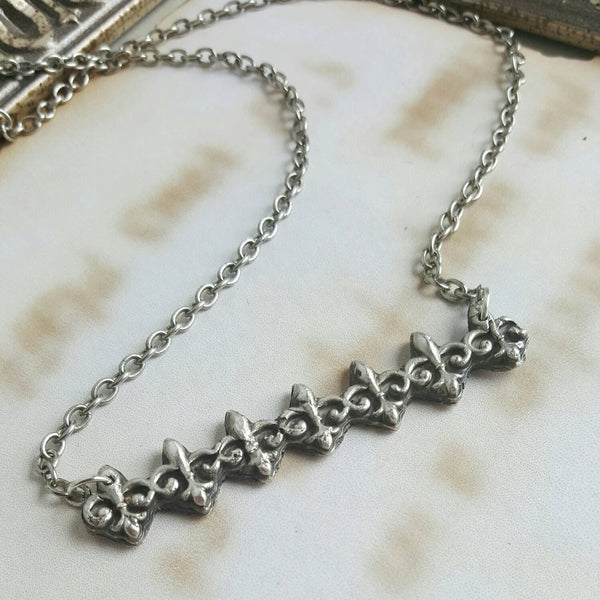 Fleur de Lis Bar Necklace 925 Sterling Silver Necklace Mardi Gras Jewelry - DRAVYNMOOR