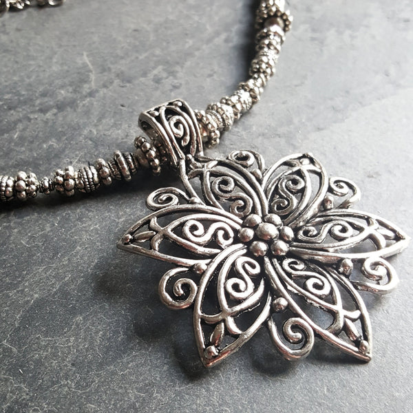 Silver Flower Necklace Ren Faire Elven Jewelry Gift Idea - DRAVYNMOOR