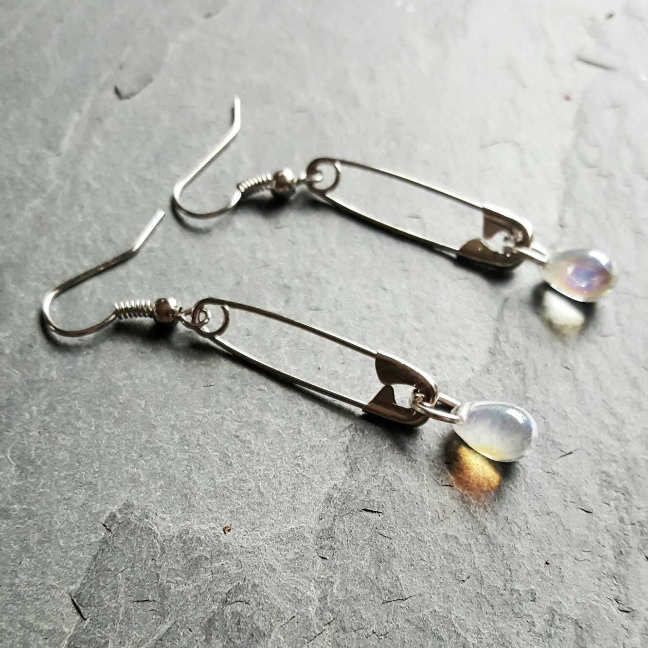 Safety Pin Teardrop Earrings Safety Pin Movement Gift Idea - DRAVYNMOOR