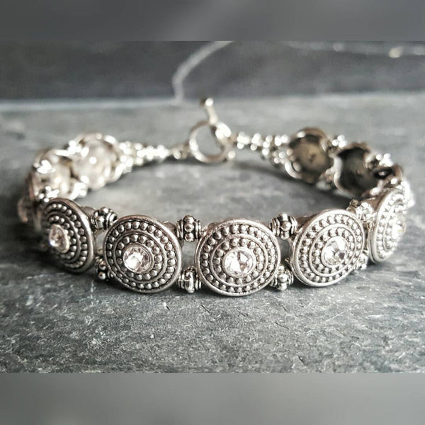 Silver Medieval Shield Bracelet Bridal Jewelry Bridesmaid Jewelry - DRAVYNMOOR