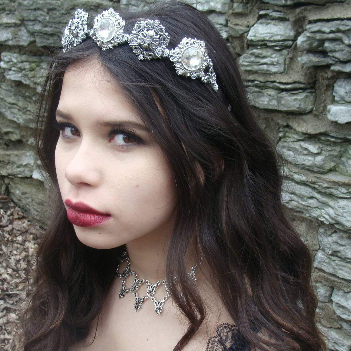 Silver Bridal Rhinestone Crown Hair Jewelry Tiara Circlet - DRAVYNMOOR