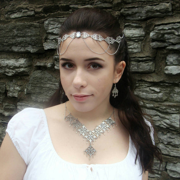 Gothic Necklace - Ren Faire - Bridesmaid Jewelry - Gothic Victorian - Silver Bridal Jewelry - Princess Cosplay - Silver Statement Necklace - DRAVYNMOOR