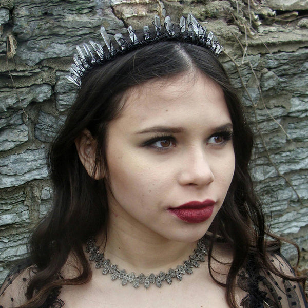 Evil Queen Crystal Crown Gothic Wedding Black Tiara - DRAVYNMOOR